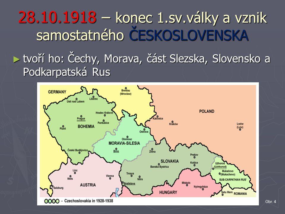 28.10.1918 – konec 1.sv.války a vznik samostatného ČESKOSLOVENSKA