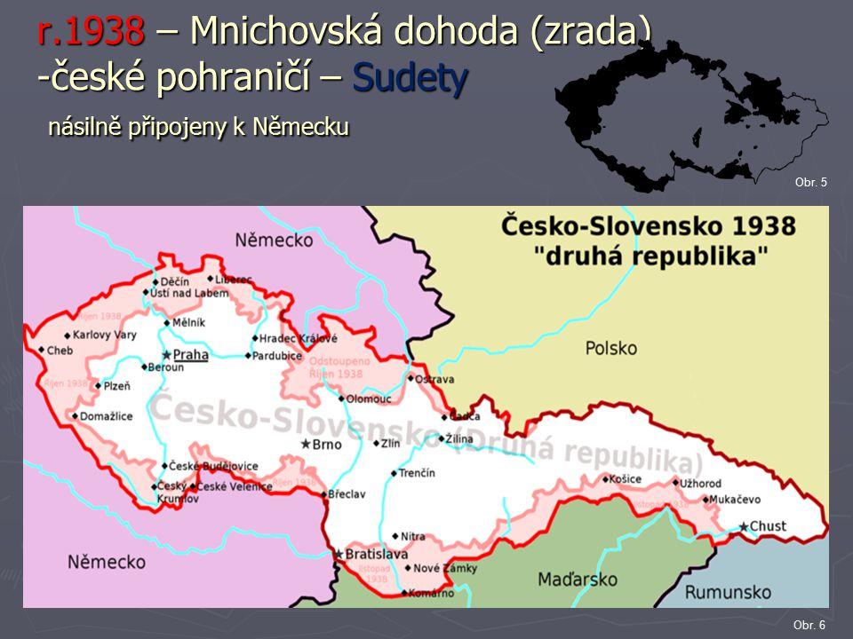 r.1938 – Mnichovská dohoda (zrada) -české pohraničí – Sudety násilně připojeny k Německu