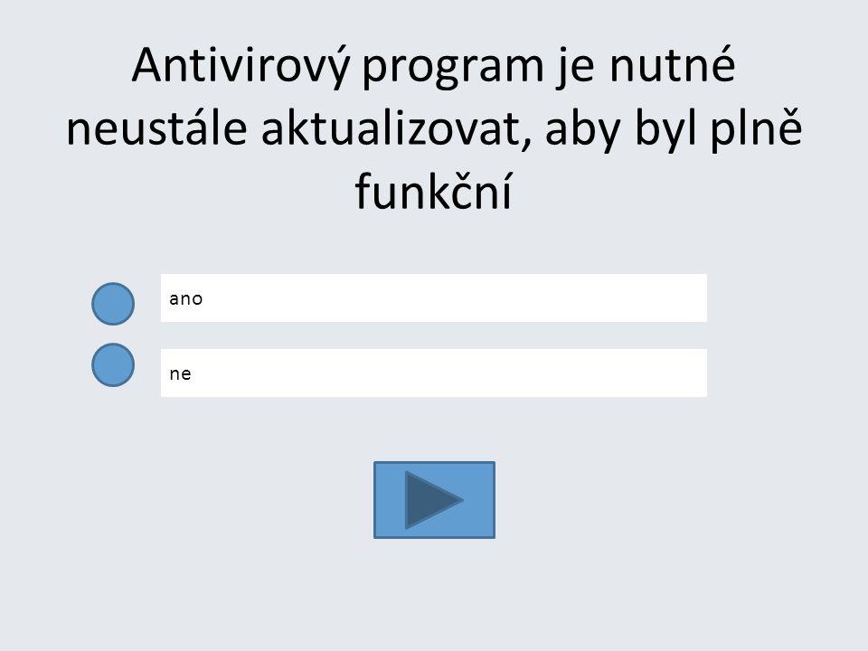 Antivirový program je nutné neustále aktualizovat, aby byl plně funkční