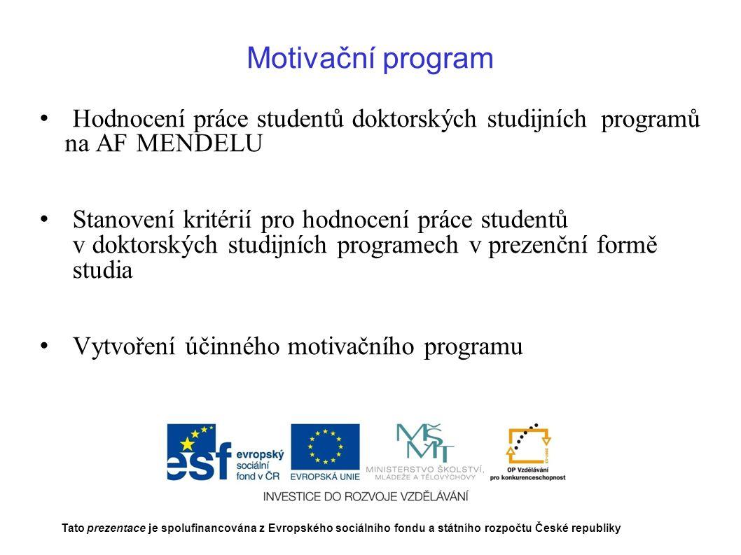 Motivační program Hodnocení práce studentů doktorských studijních programů na AF MENDELU.