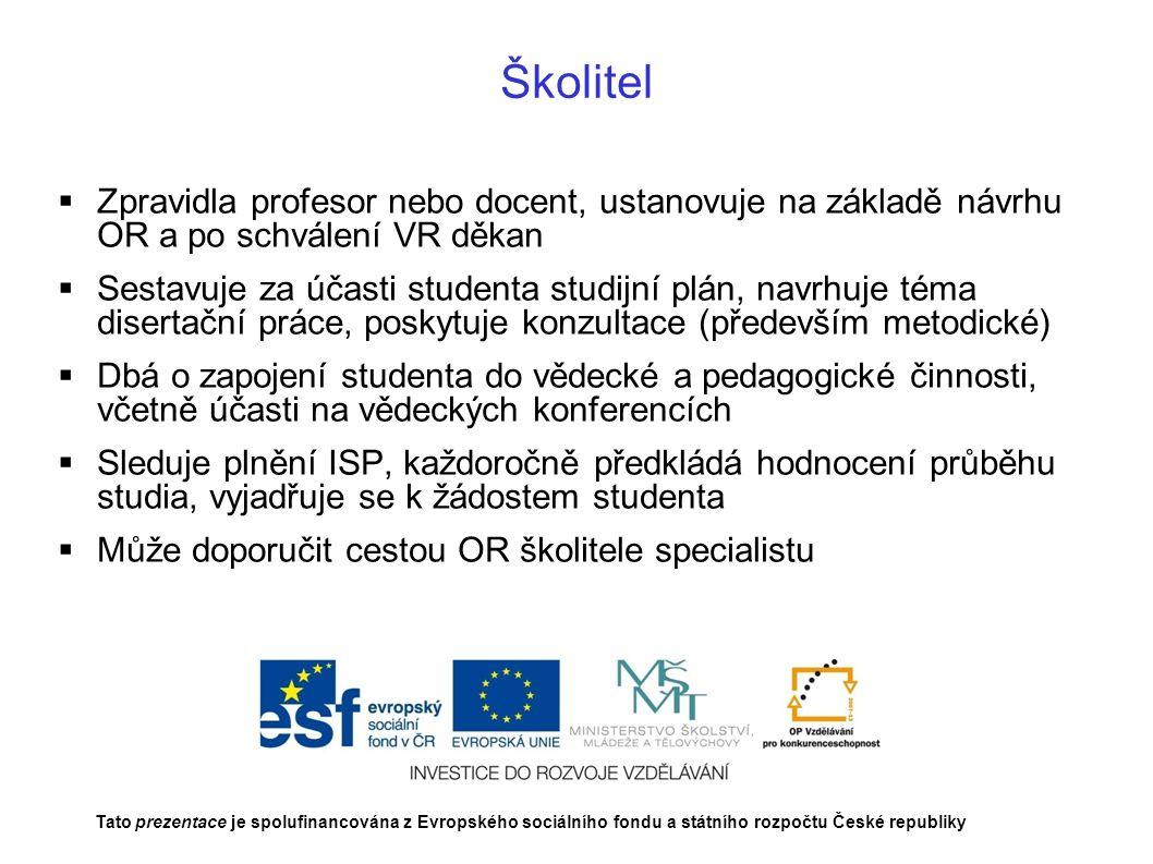Školitel Zpravidla profesor nebo docent, ustanovuje na základě návrhu OR a po schválení VR děkan.