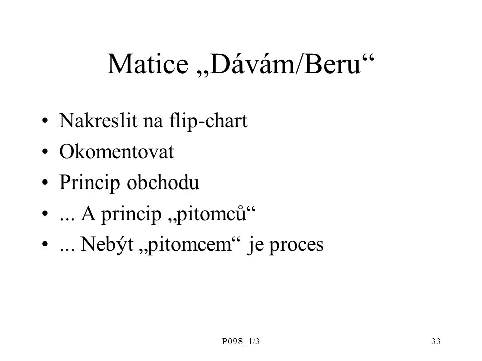 """Matice """"Dávám/Beru Nakreslit na flip-chart Okomentovat"""