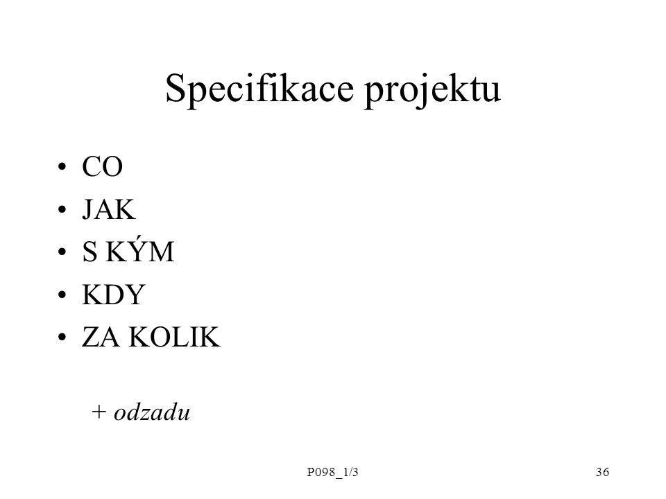 Specifikace projektu CO JAK S KÝM KDY ZA KOLIK + odzadu P098_1/3