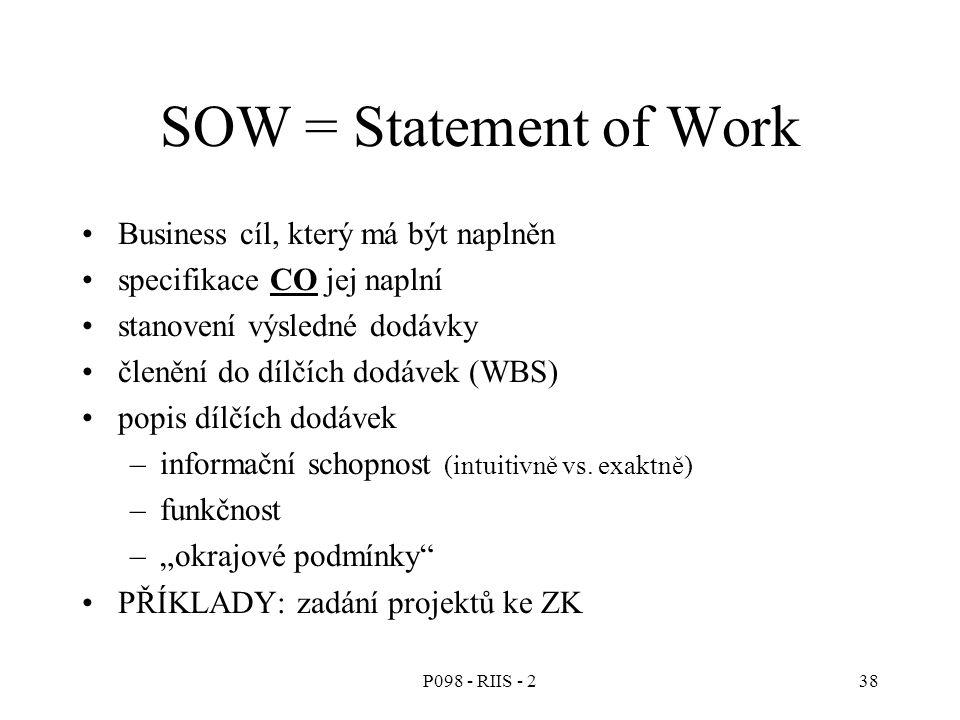 SOW = Statement of Work Business cíl, který má být naplněn