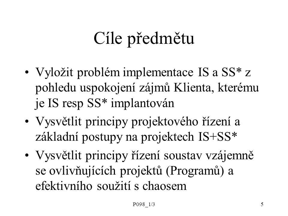 Cíle předmětu Vyložit problém implementace IS a SS* z pohledu uspokojení zájmů Klienta, kterému je IS resp SS* implantován.