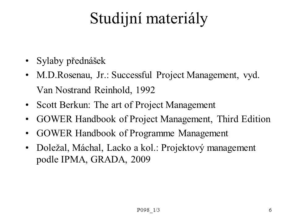 Studijní materiály Sylaby přednášek