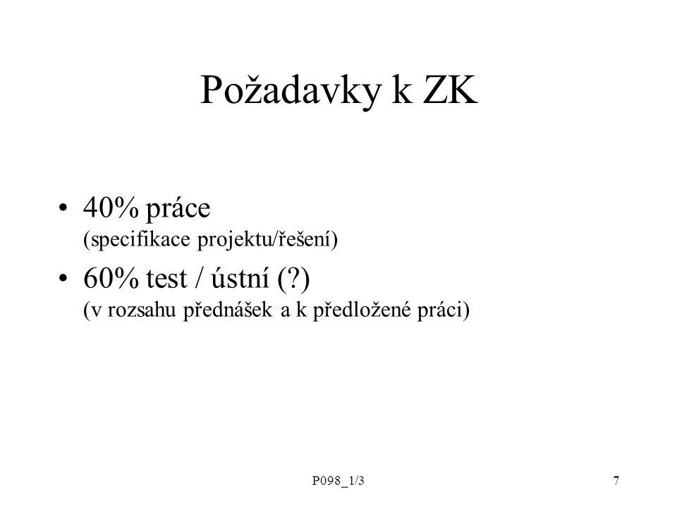 Požadavky k ZK 40% práce (specifikace projektu/řešení)