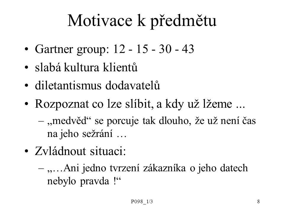 Motivace k předmětu Gartner group: 12 - 15 - 30 - 43
