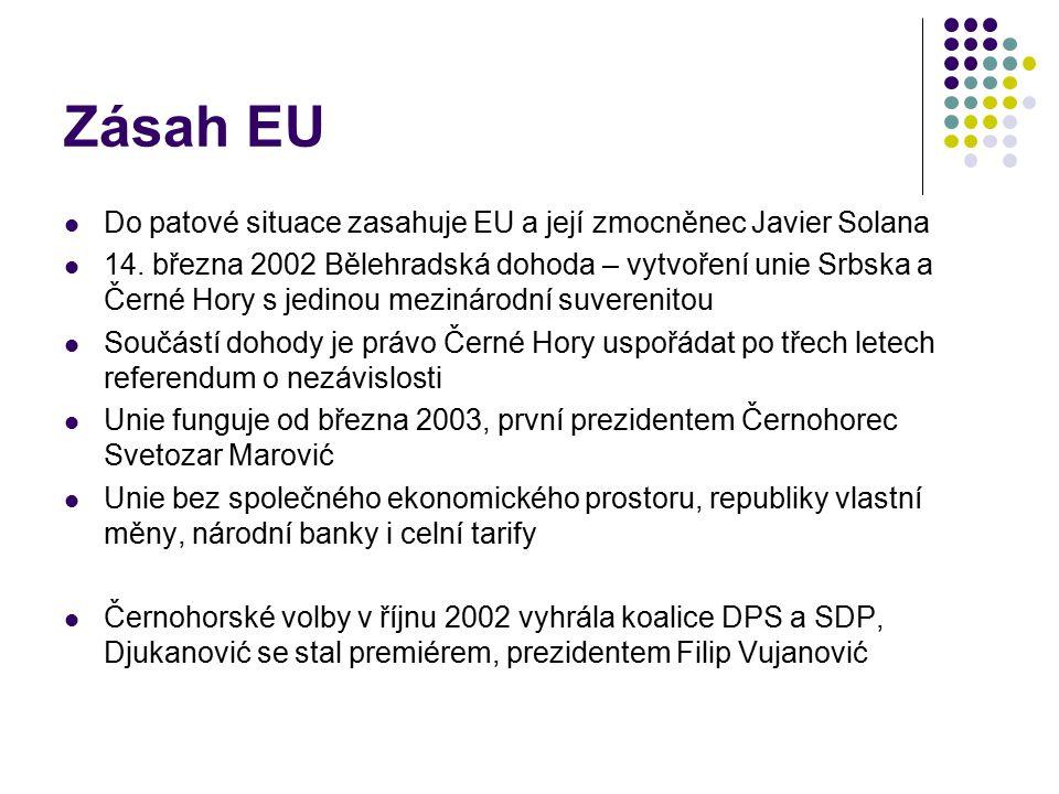 Zásah EU Do patové situace zasahuje EU a její zmocněnec Javier Solana