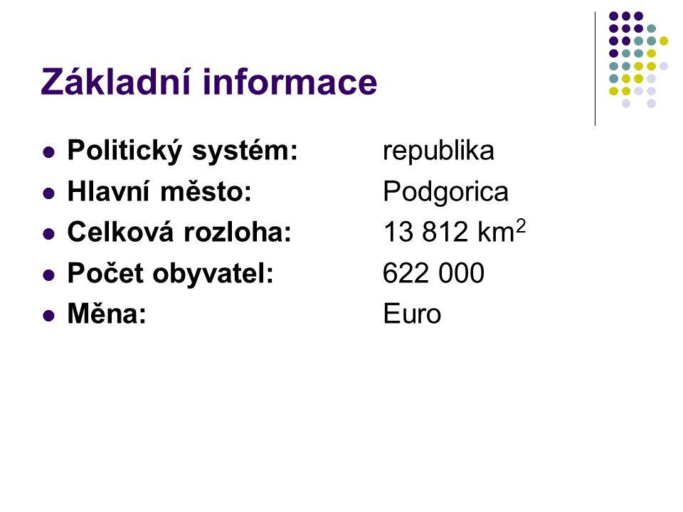 Základní informace Politický systém: republika Hlavní město: Podgorica