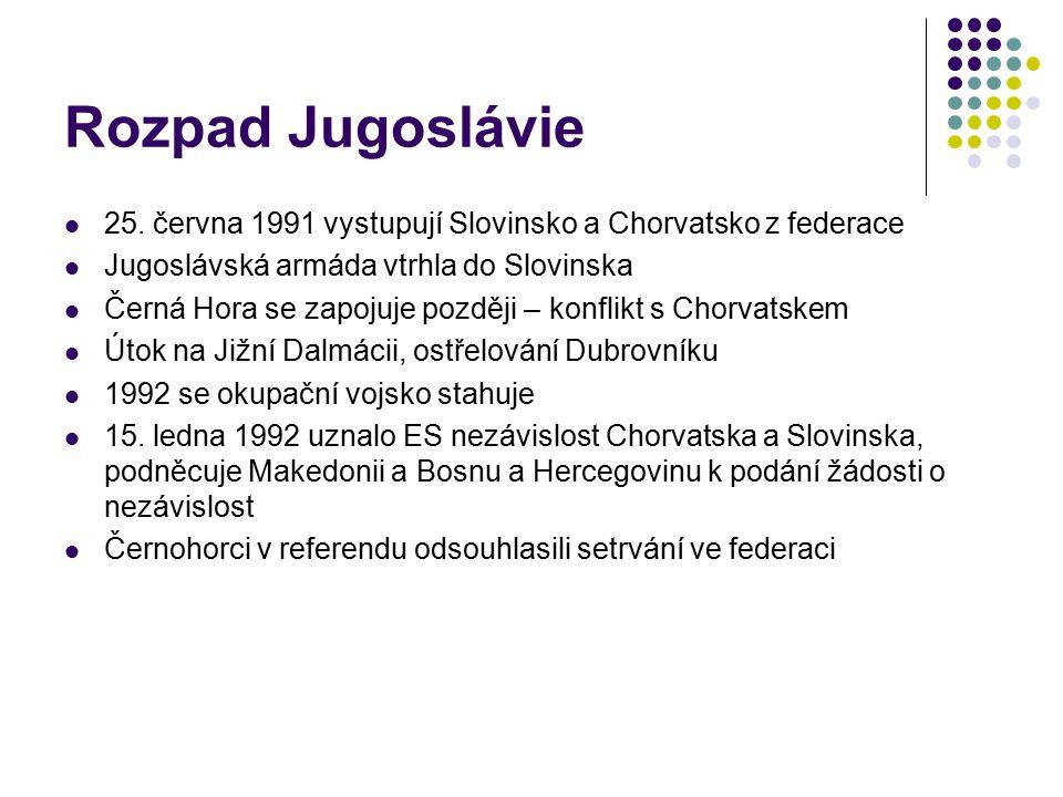 Rozpad Jugoslávie 25. června 1991 vystupují Slovinsko a Chorvatsko z federace. Jugoslávská armáda vtrhla do Slovinska.