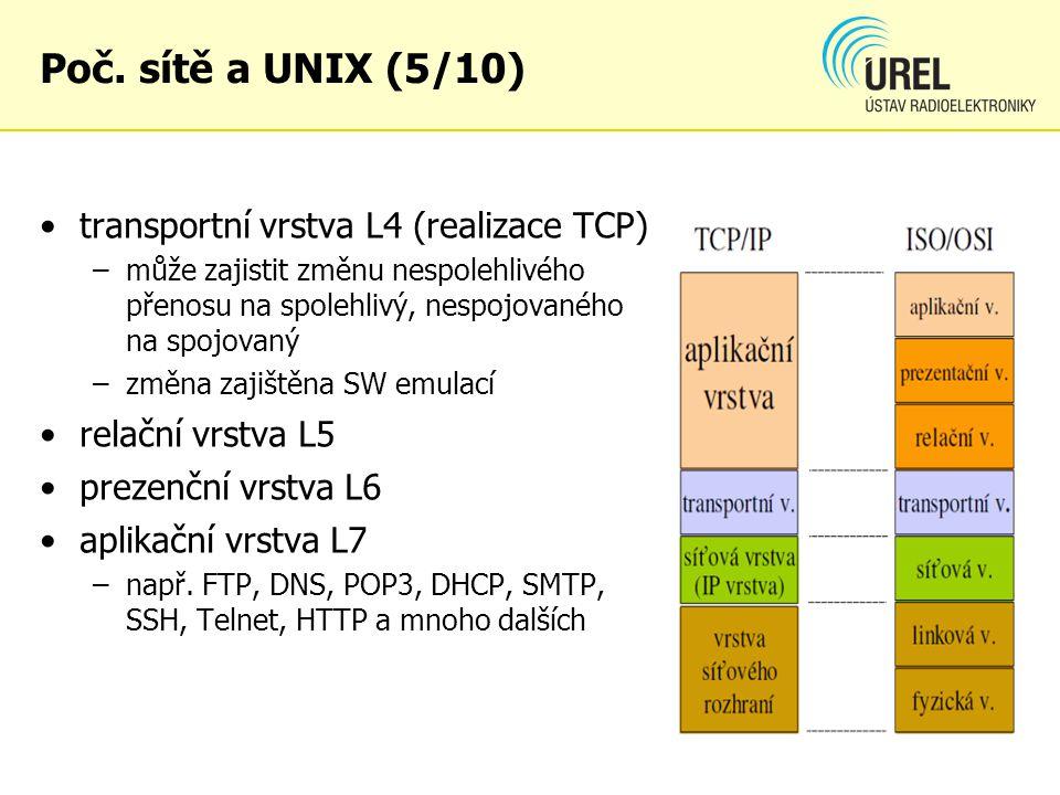 Poč. sítě a UNIX (5/10) transportní vrstva L4 (realizace TCP)