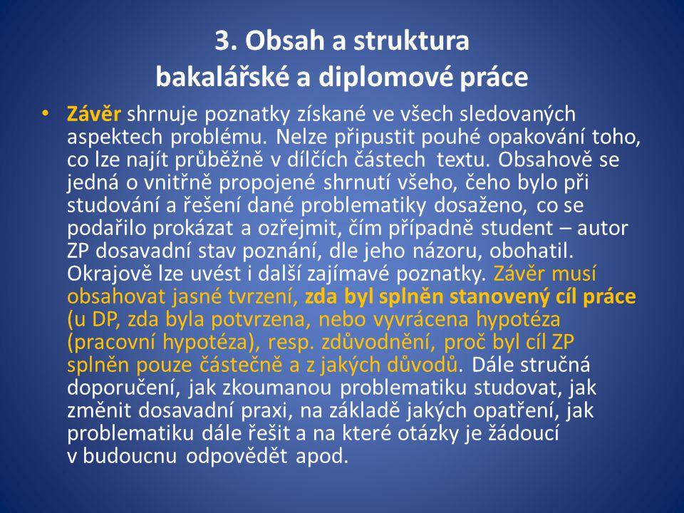 3. Obsah a struktura bakalářské a diplomové práce