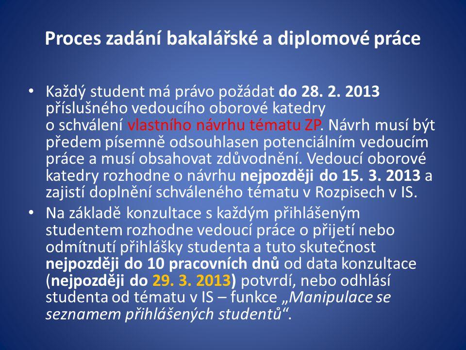 Proces zadání bakalářské a diplomové práce