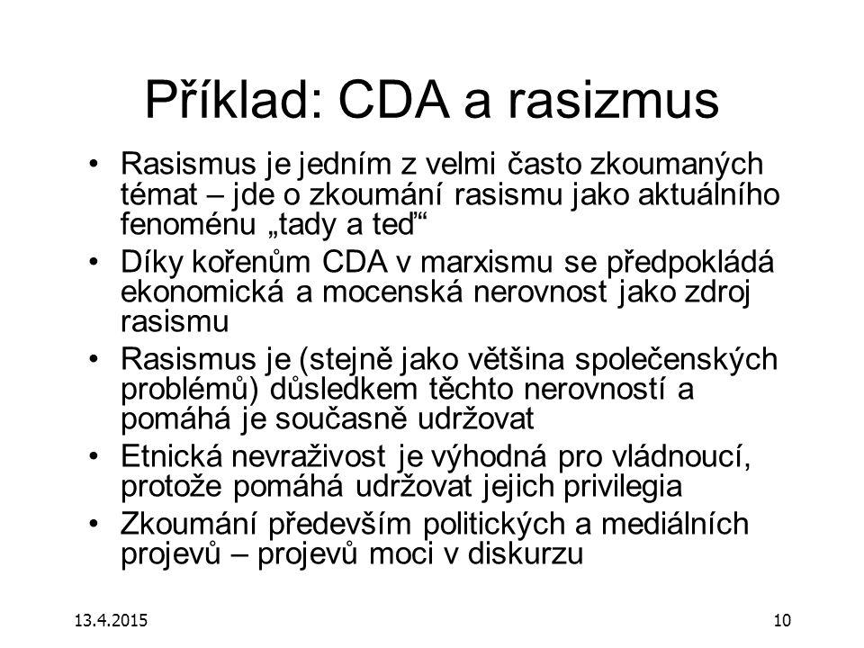 Příklad: CDA a rasizmus
