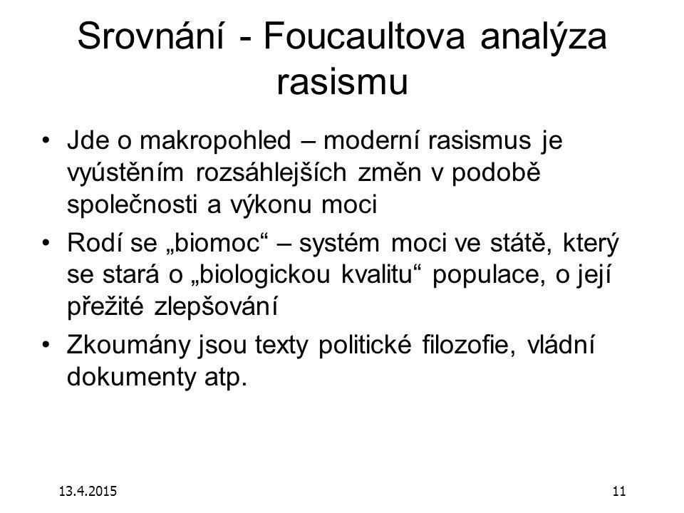 Srovnání - Foucaultova analýza rasismu