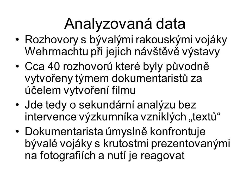 Analyzovaná data Rozhovory s bývalými rakouskými vojáky Wehrmachtu při jejich návštěvě výstavy.
