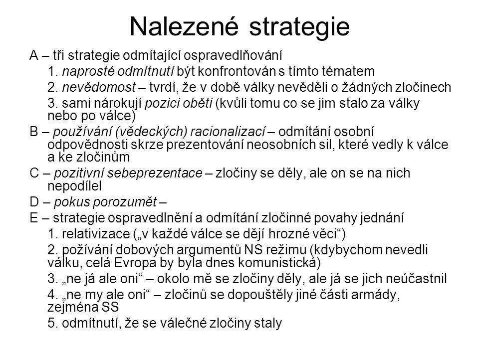 Nalezené strategie A – tři strategie odmítající ospravedlňování