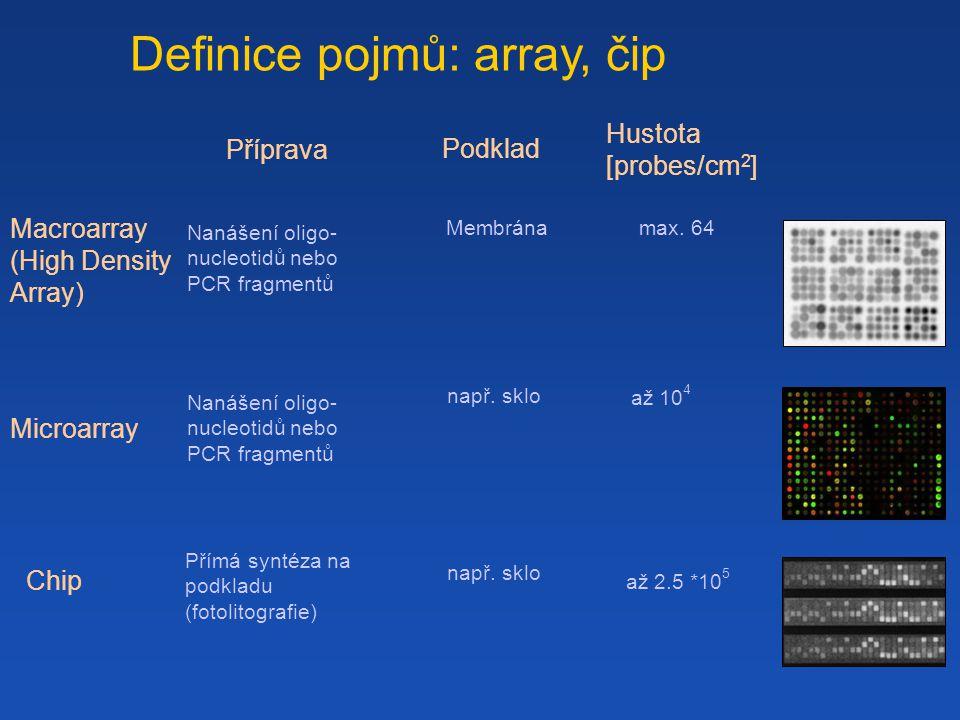 Definice pojmů: array, čip