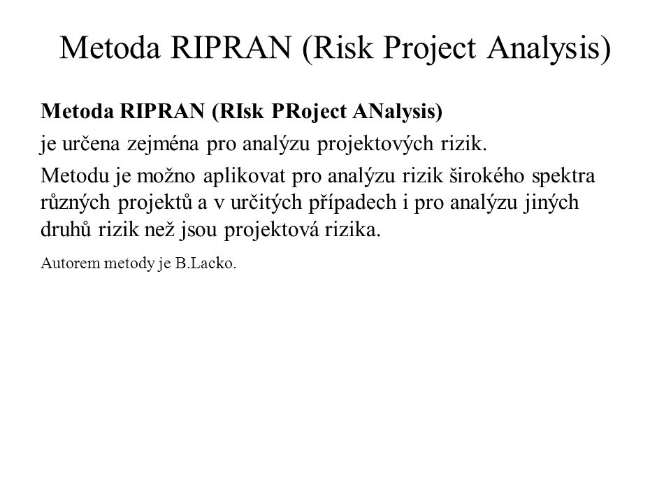 Metoda RIPRAN (Risk Project Analysis)