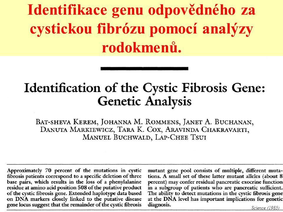Identifikace genu odpovědného za cystickou fibrózu pomocí analýzy rodokmenů.