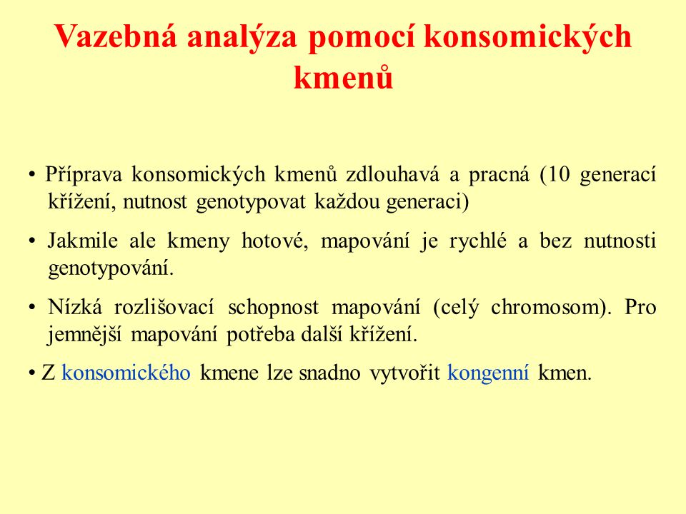 Vazebná analýza pomocí konsomických kmenů