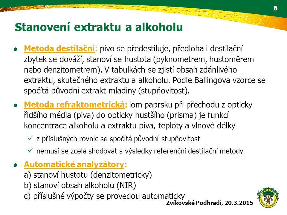 Stanovení extraktu a alkoholu