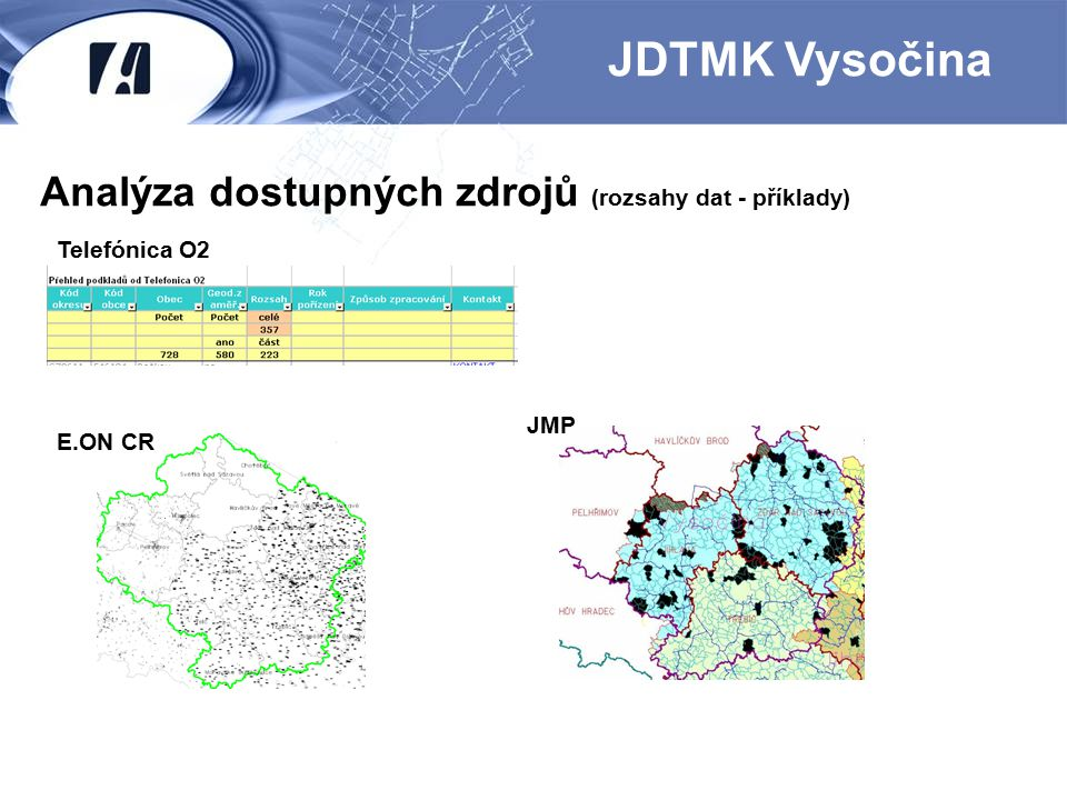 JDTMK Vysočina Analýza dostupných zdrojů (rozsahy dat - příklady)