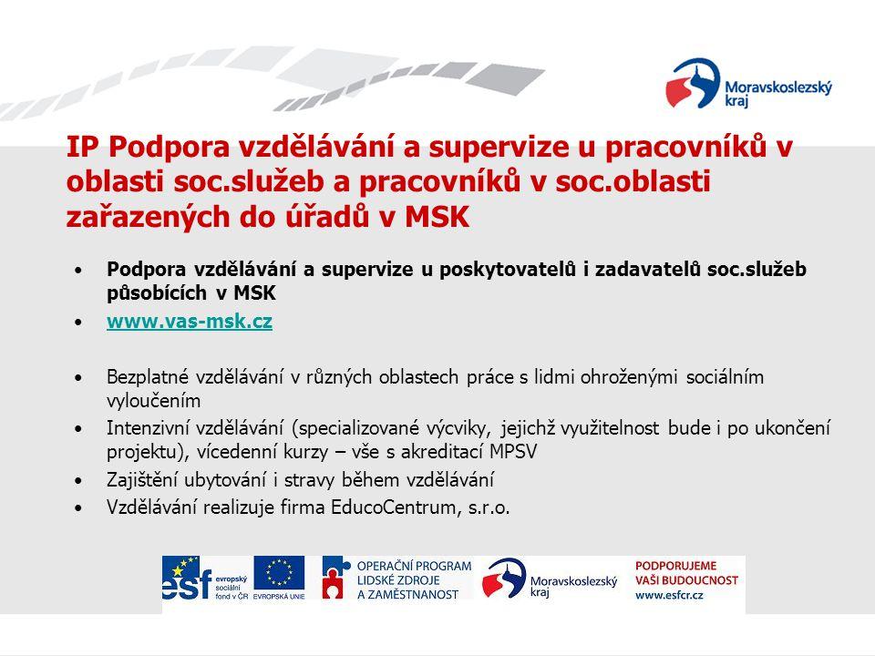IP Podpora vzdělávání a supervize u pracovníků v oblasti soc