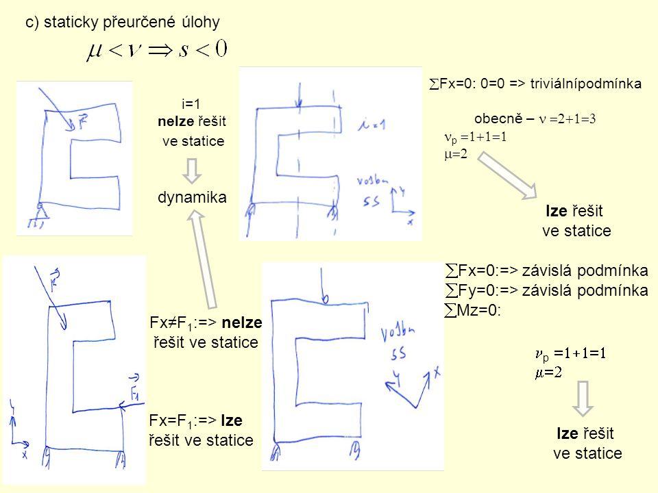 c) staticky přeurčené úlohy