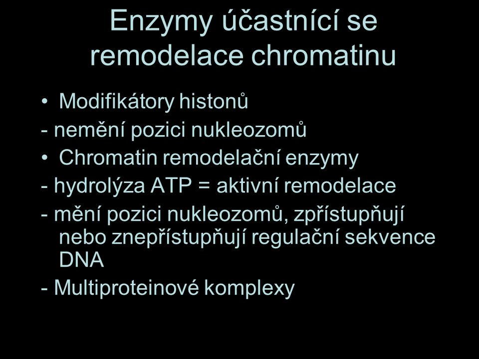 Enzymy účastnící se remodelace chromatinu
