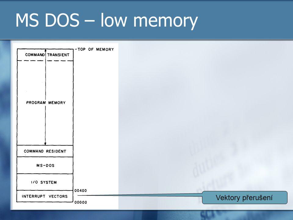 MS DOS – low memory Vektory přerušení