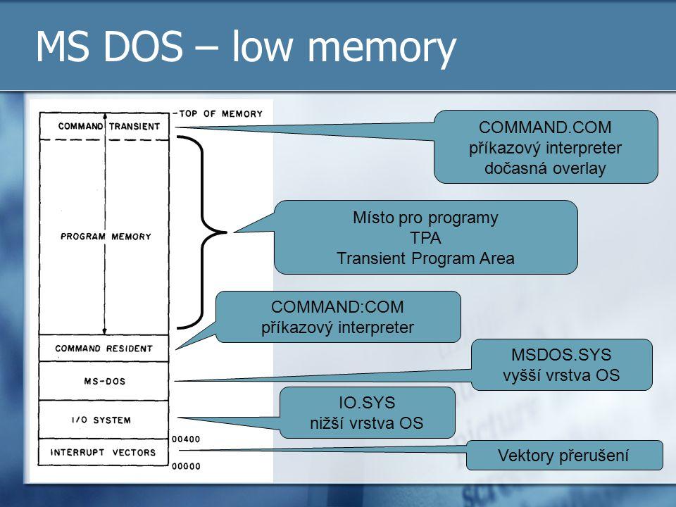 MS DOS – low memory COMMAND.COM příkazový interpreter dočasná overlay