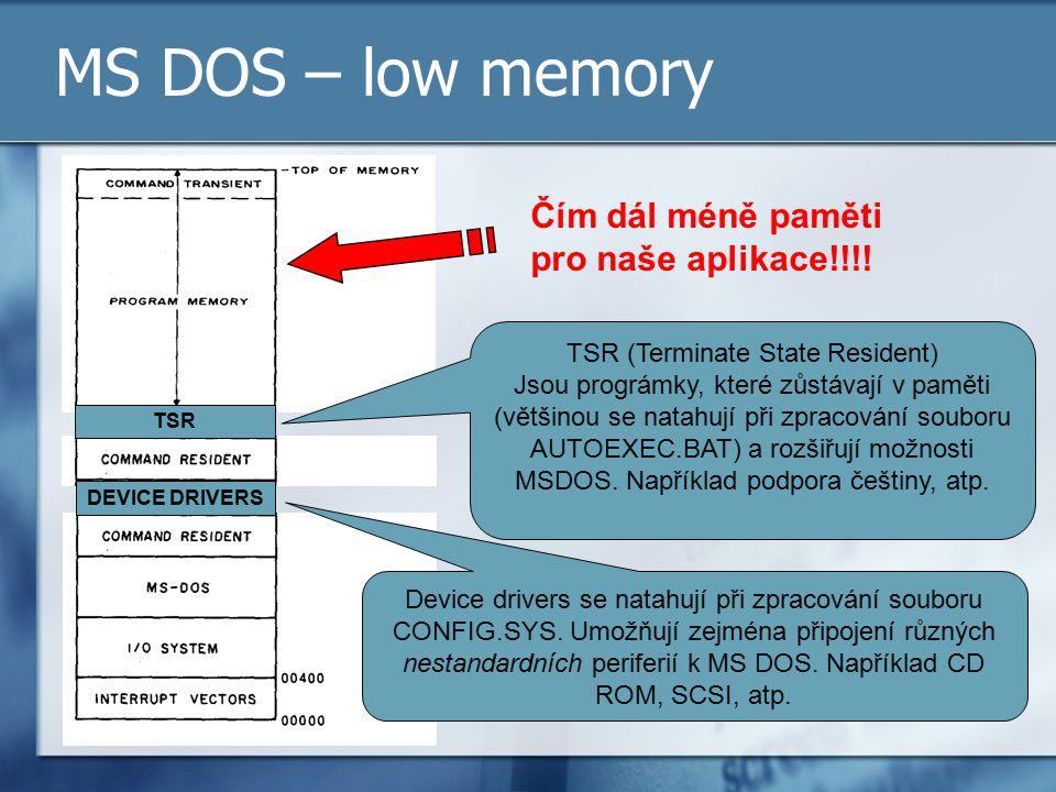 MS DOS – low memory Čím dál méně paměti pro naše aplikace!!!!