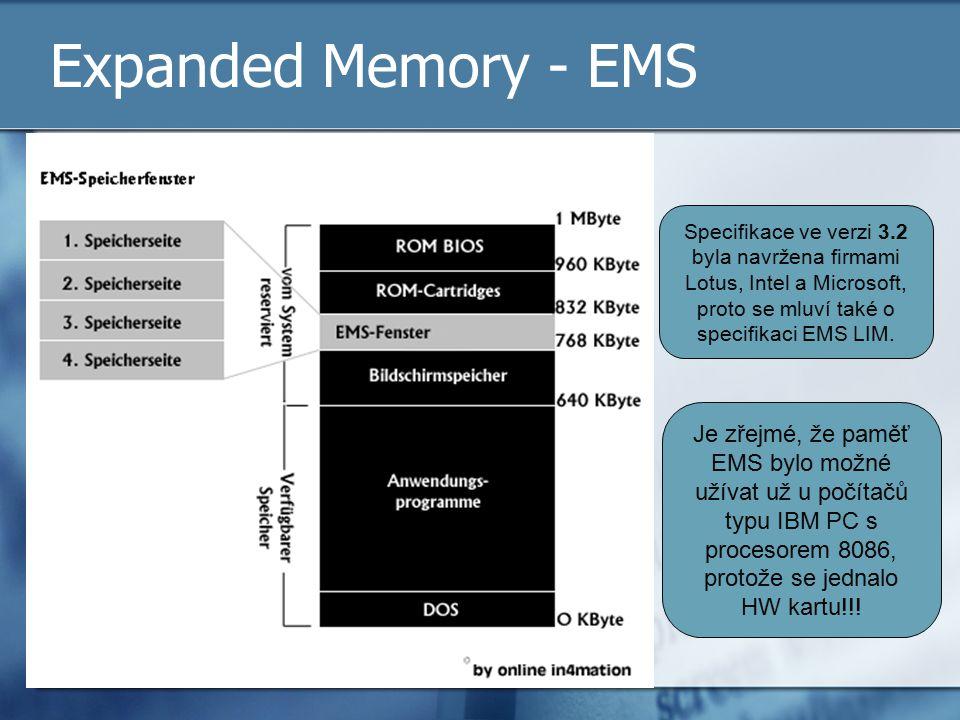 Expanded Memory - EMS Specifikace ve verzi 3.2 byla navržena firmami Lotus, Intel a Microsoft, proto se mluví také o specifikaci EMS LIM.
