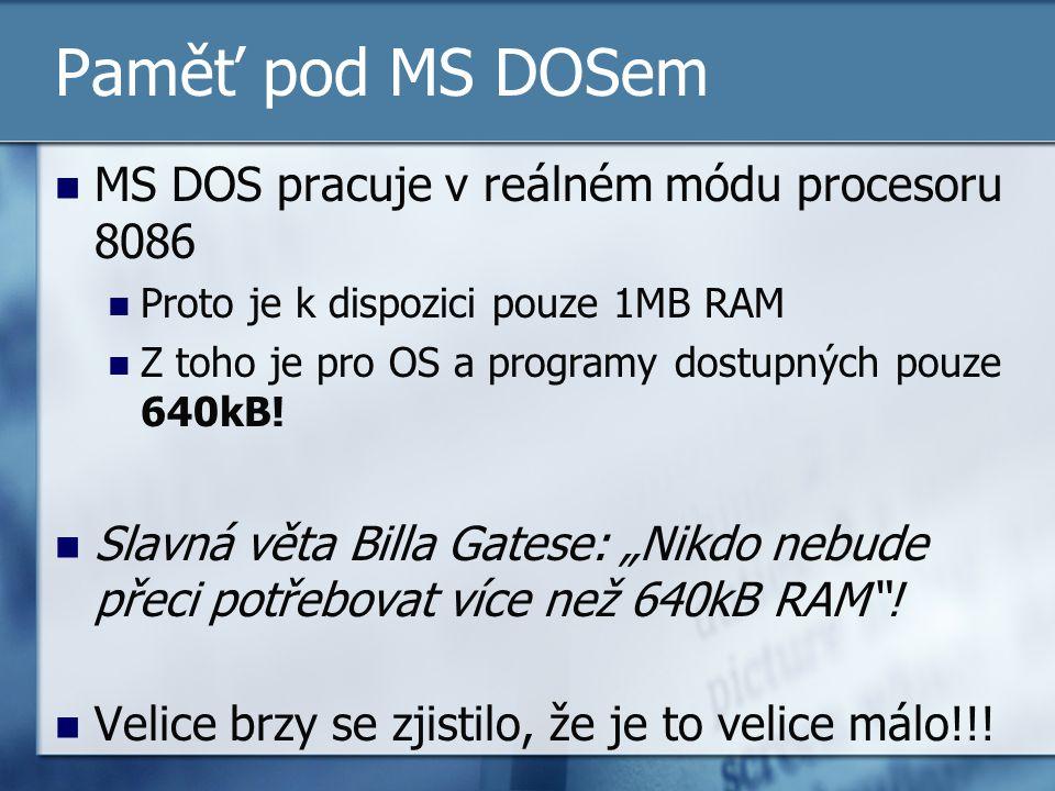 Paměť pod MS DOSem MS DOS pracuje v reálném módu procesoru 8086