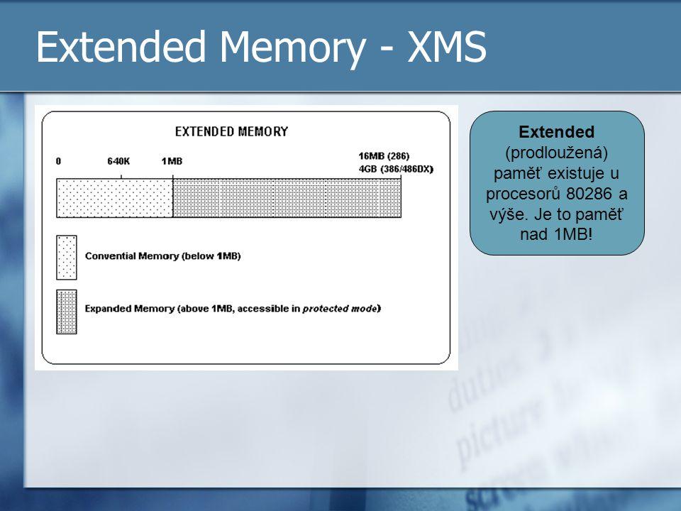 Extended Memory - XMS Extended (prodloužená) paměť existuje u procesorů 80286 a výše.