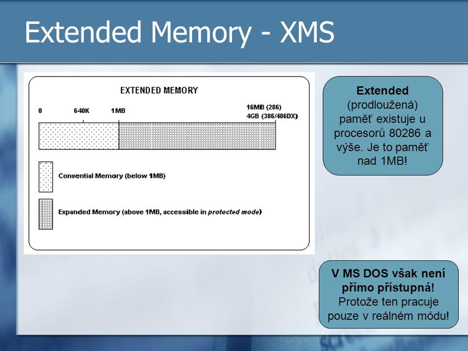 Extended Memory - XMS Extended (prodloužená) paměť existuje u procesorů 80286 a výše. Je to paměť nad 1MB!