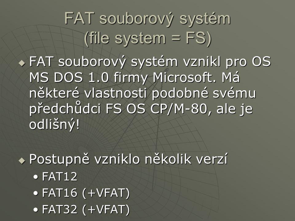 FAT souborový systém (file system = FS)