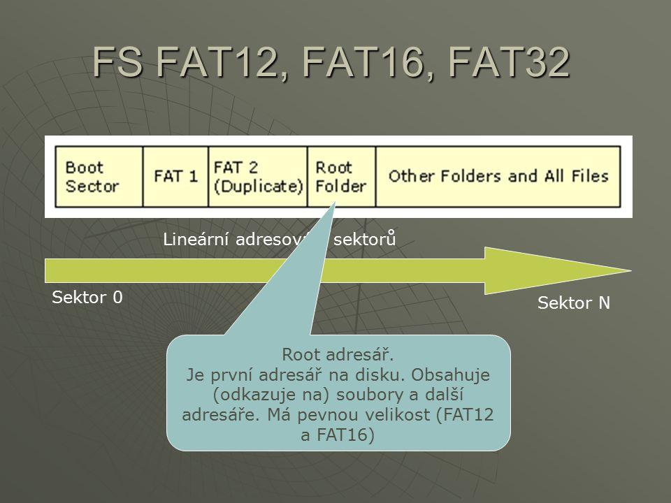 FS FAT12, FAT16, FAT32 Lineární adresování sektorů Sektor 0 Sektor N