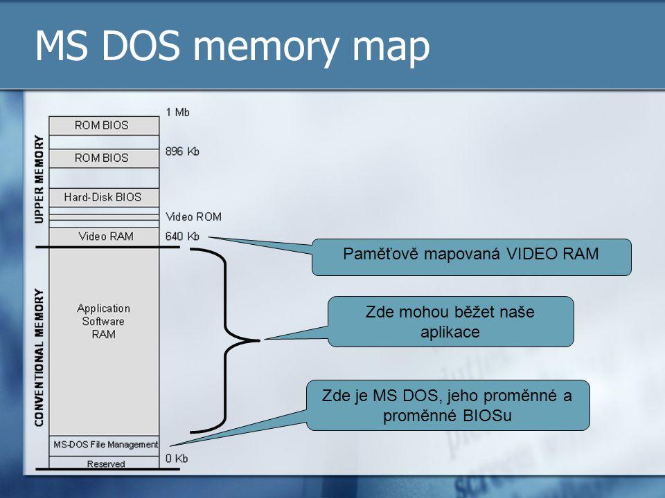 MS DOS memory map Paměťově mapovaná VIDEO RAM