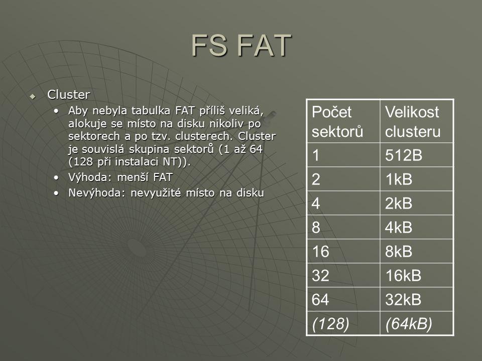 FS FAT Počet sektorů Velikost clusteru 1 512B 2 1kB 4 2kB 8 4kB 16 8kB