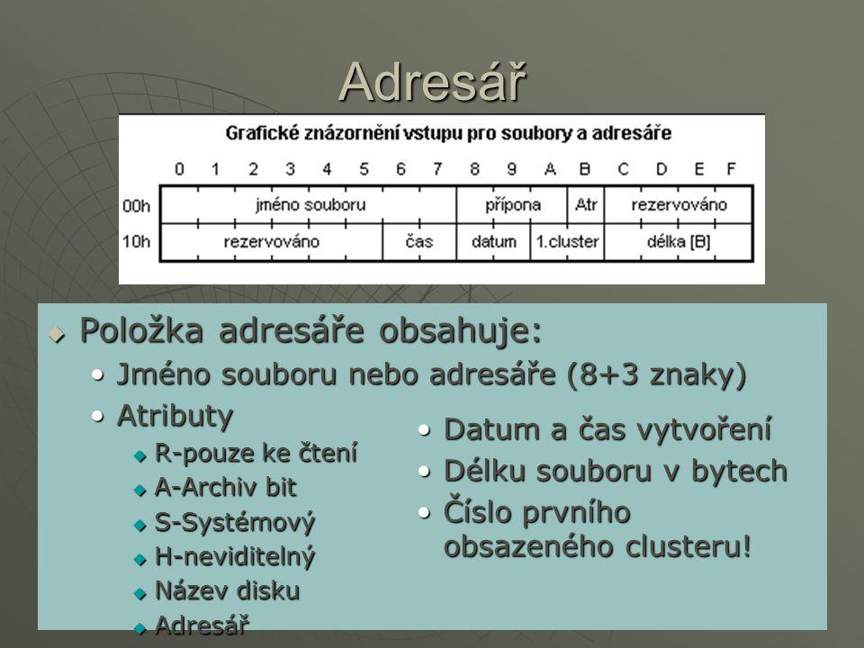 Adresář Položka adresáře obsahuje: