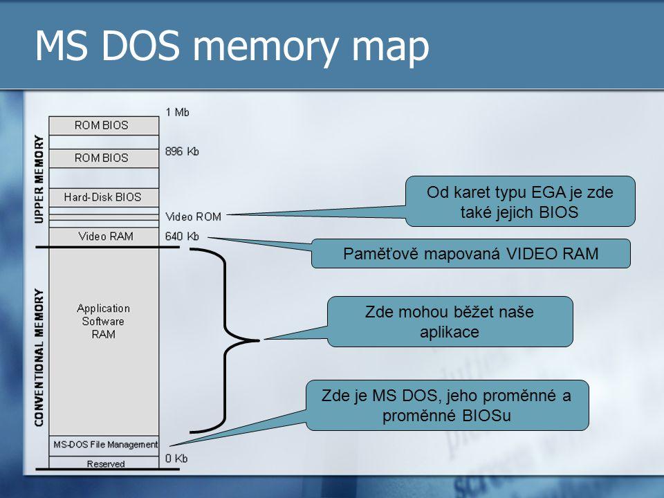 MS DOS memory map Od karet typu EGA je zde také jejich BIOS