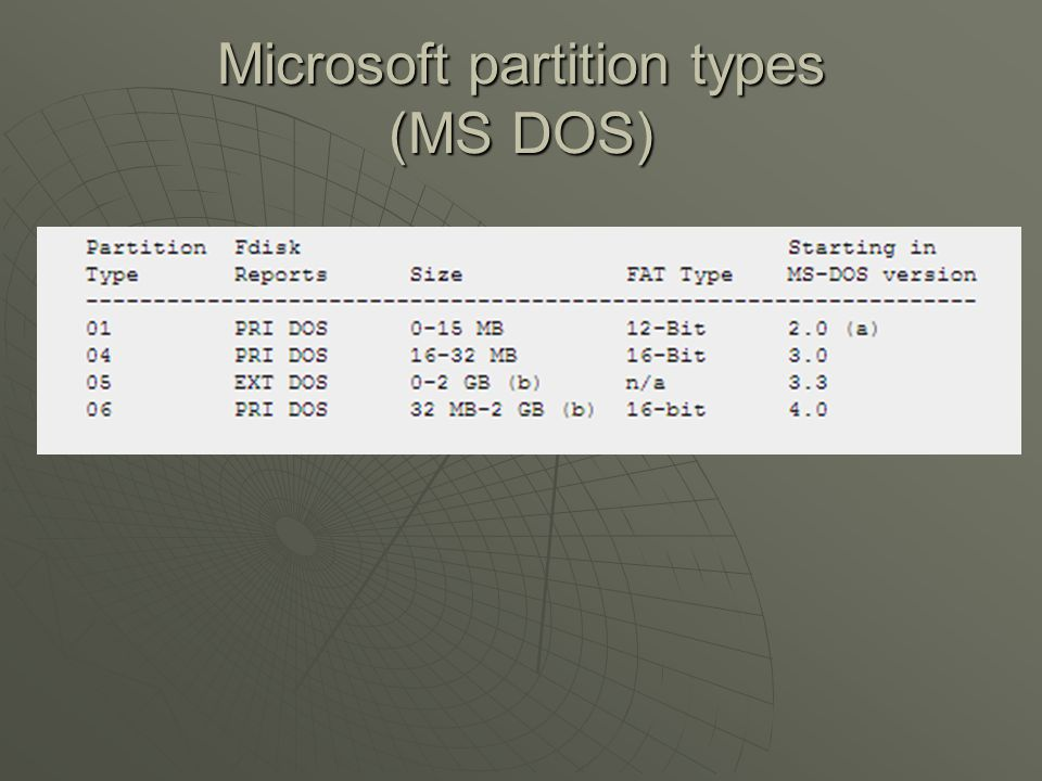 Microsoft partition types (MS DOS)
