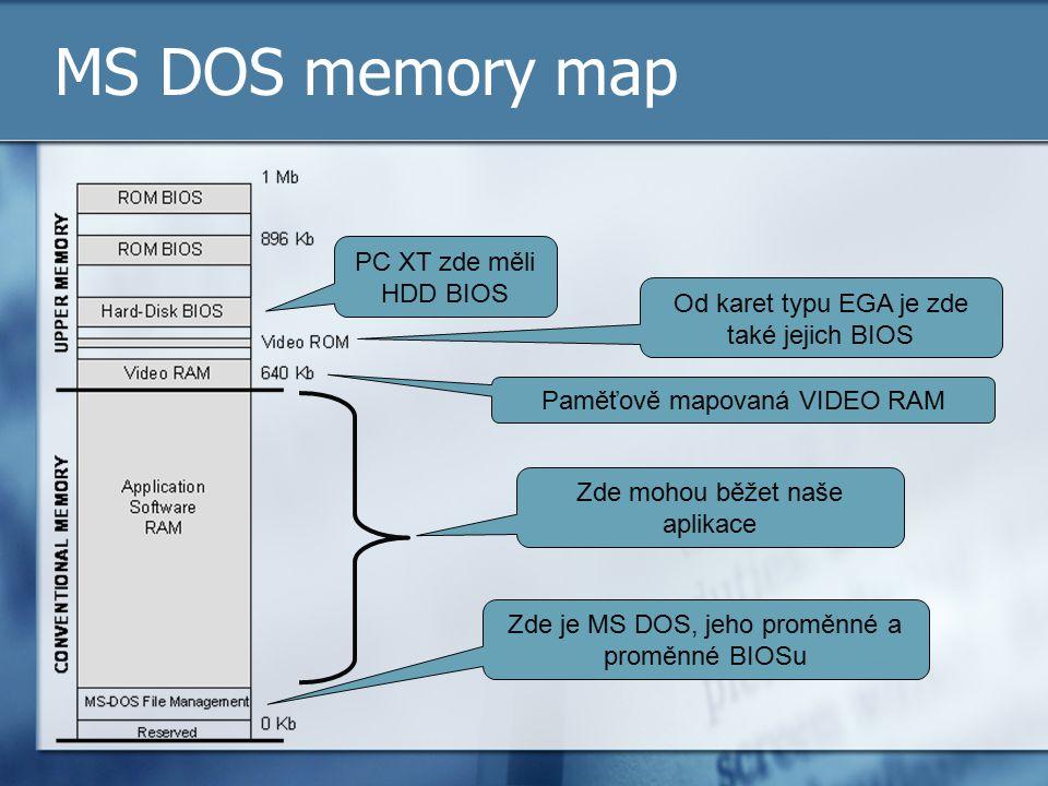 MS DOS memory map PC XT zde měli HDD BIOS