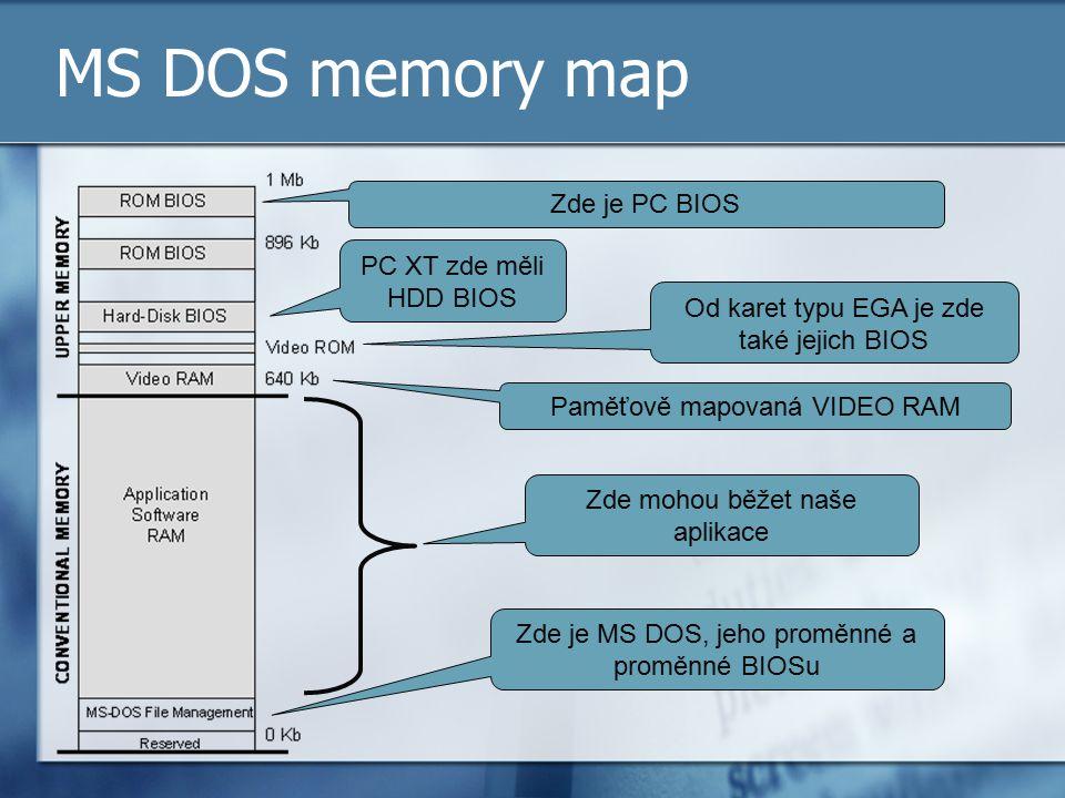 MS DOS memory map Zde je PC BIOS PC XT zde měli HDD BIOS