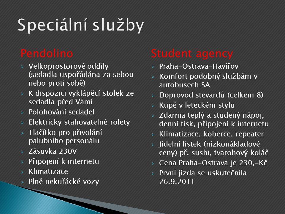 Speciální služby Pendolino Student agency