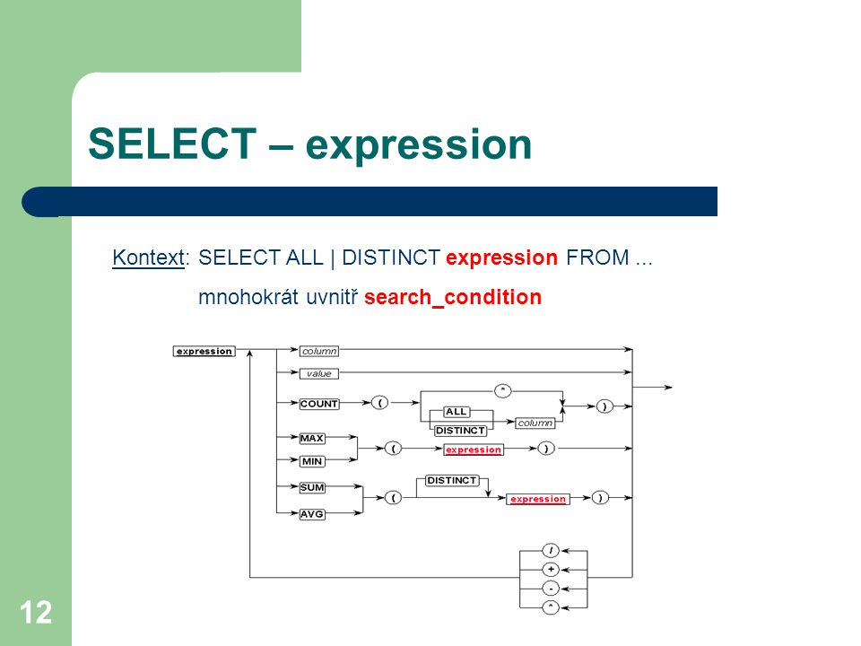 SELECT – expression Kontext: SELECT ALL | DISTINCT expression FROM ...