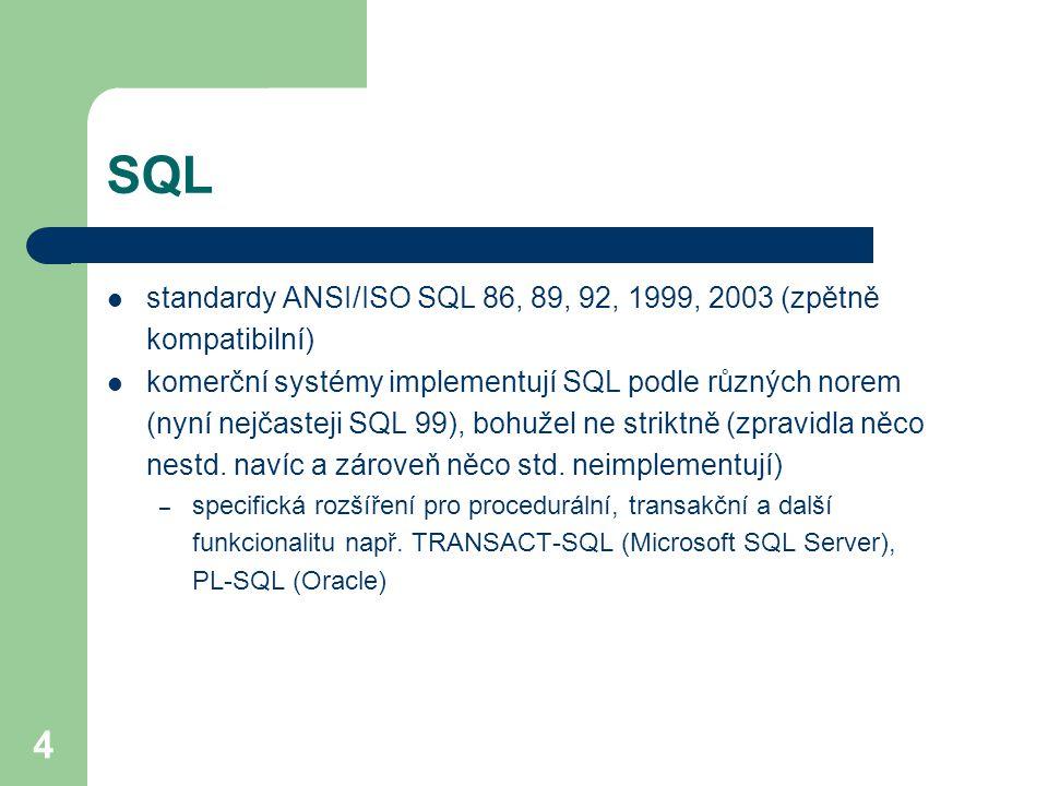 SQL standardy ANSI/ISO SQL 86, 89, 92, 1999, 2003 (zpětně kompatibilní)
